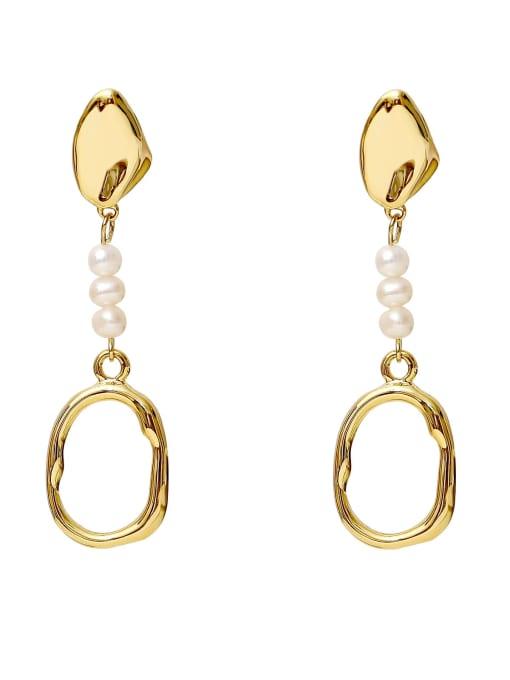14k Gold [symmetrical Payment] Brass Imitation Pearl Geometric Minimalist Drop Earring